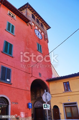 Clock Gate Loro Ciuffenna Tuscany Stock Photo & More Pictures of Alley