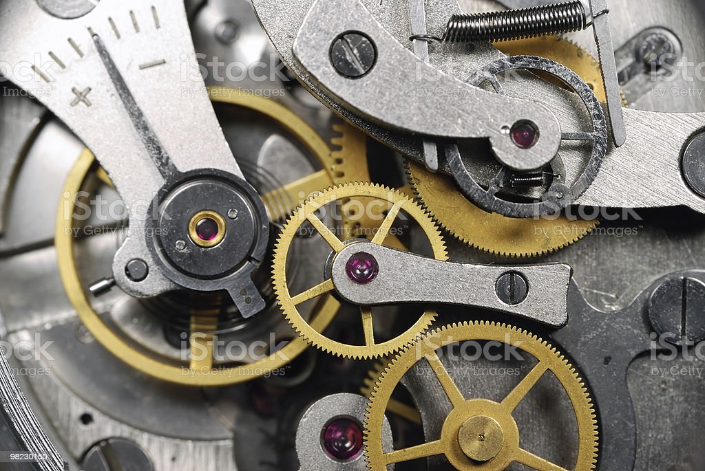 clock gear with ruby stones closeup royalty-free stock photo