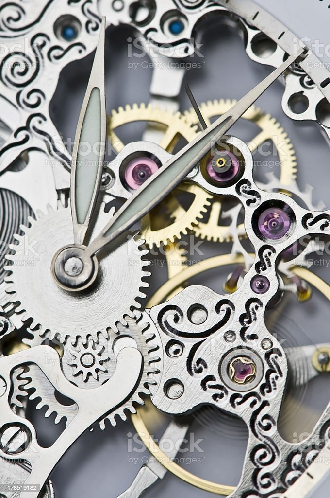 clock hands and mechanism stock photo