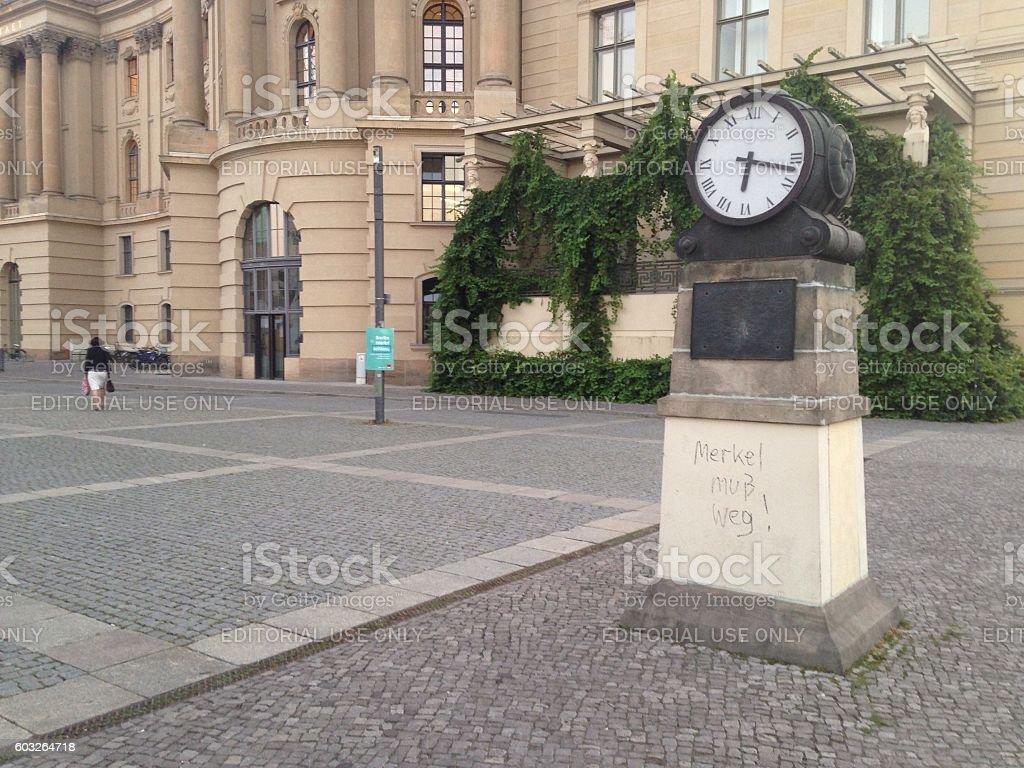 Clock in a City Square Berlin stock photo