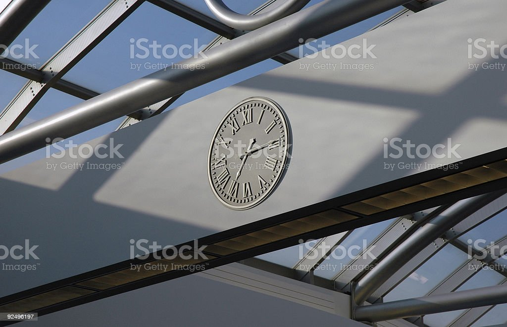 Clock in an airport terminal royalty-free stock photo