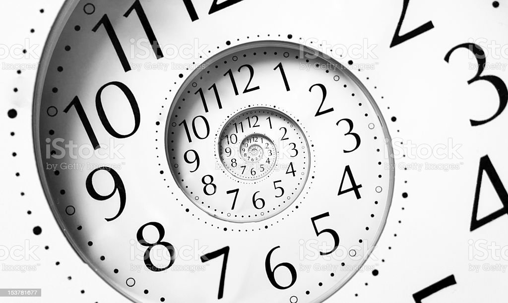 Clock in an infinite spiral royalty-free stock photo