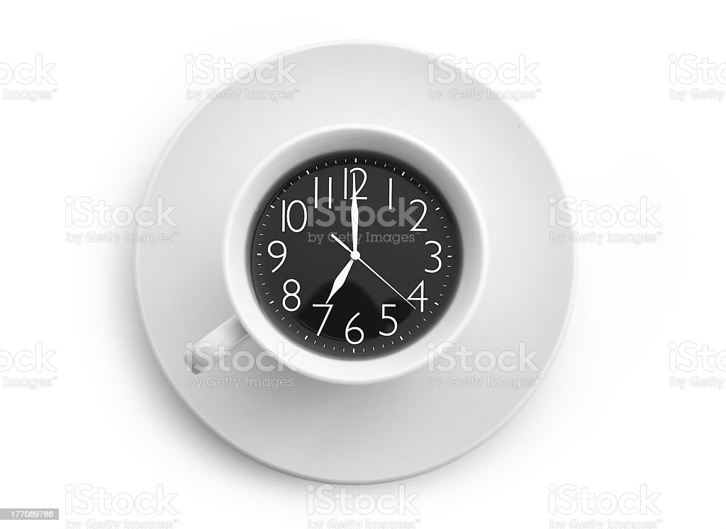 Clock in coffee royalty-free stock photo