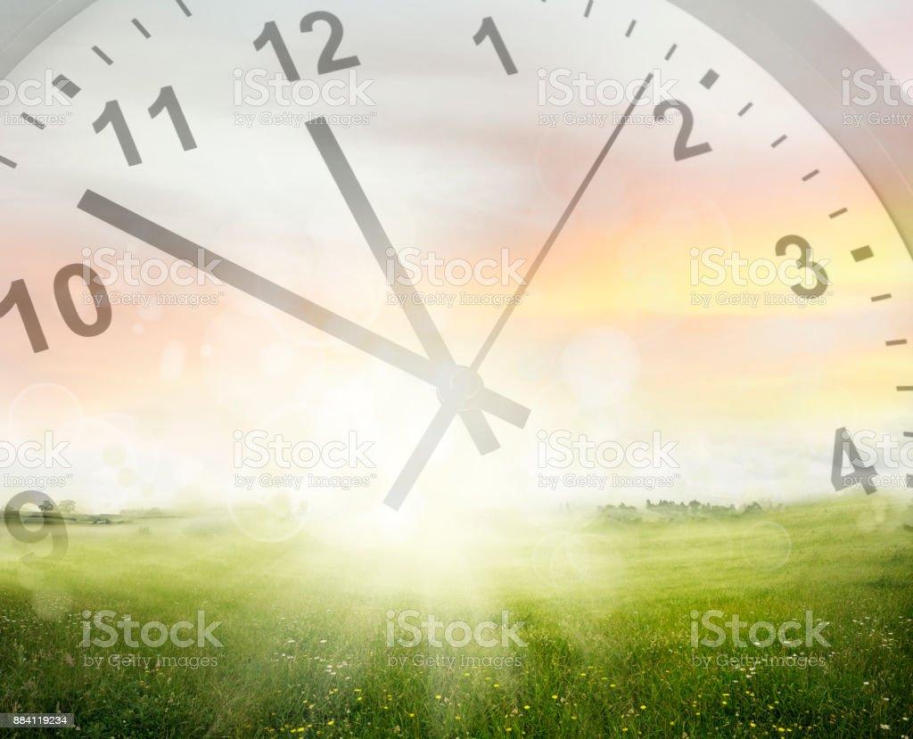Clock in sky stock photo