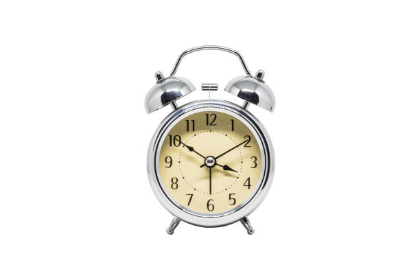clock isolated white background - alarm clock stock photos and pictures