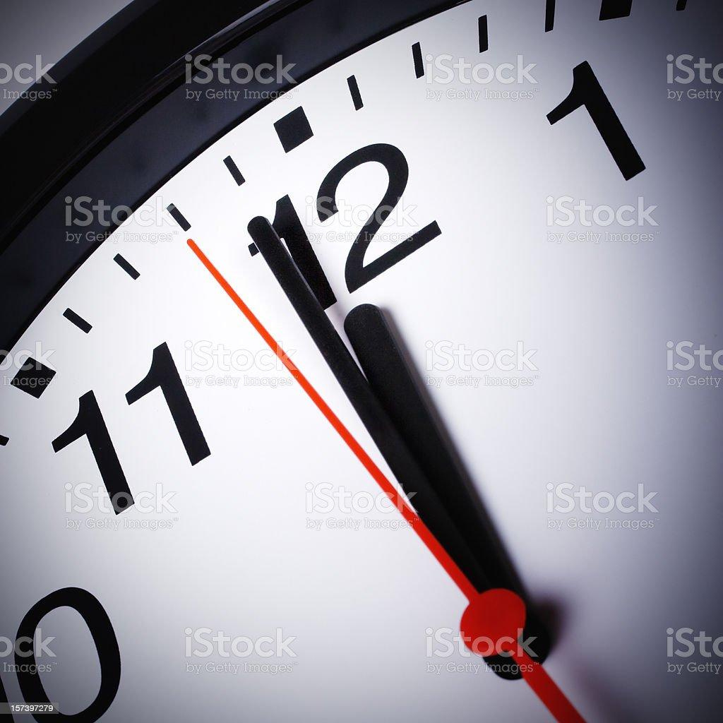 Clock. Just before deadline stock photo