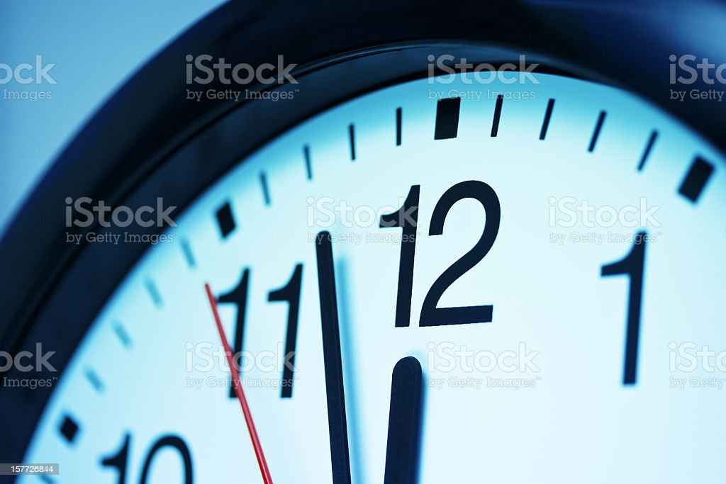 Clock. Just before deadline stock photo