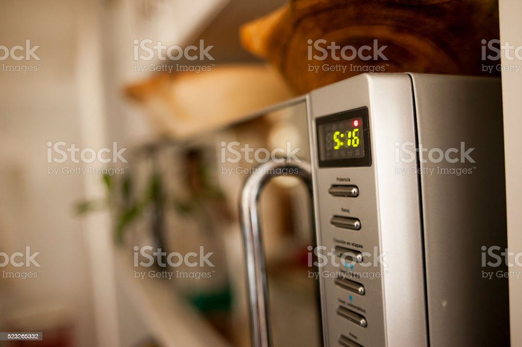 Clock microwave stock photo