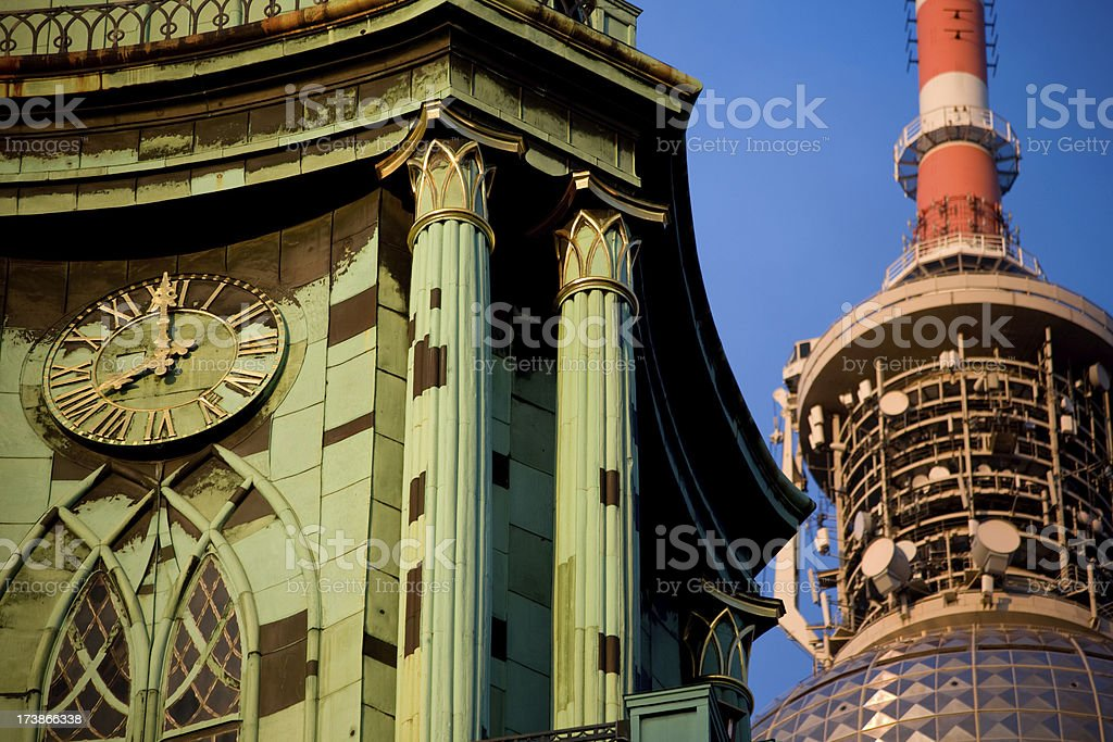 Clock of Alexanderplatz royalty-free stock photo