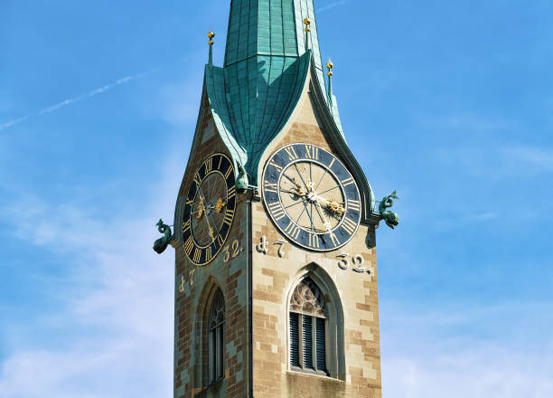 Clock of Fraumunster Church in Zurich Clock of Fraumunster Church in Zurich, Switzerland fraumunster stock pictures, royalty-free photos & images