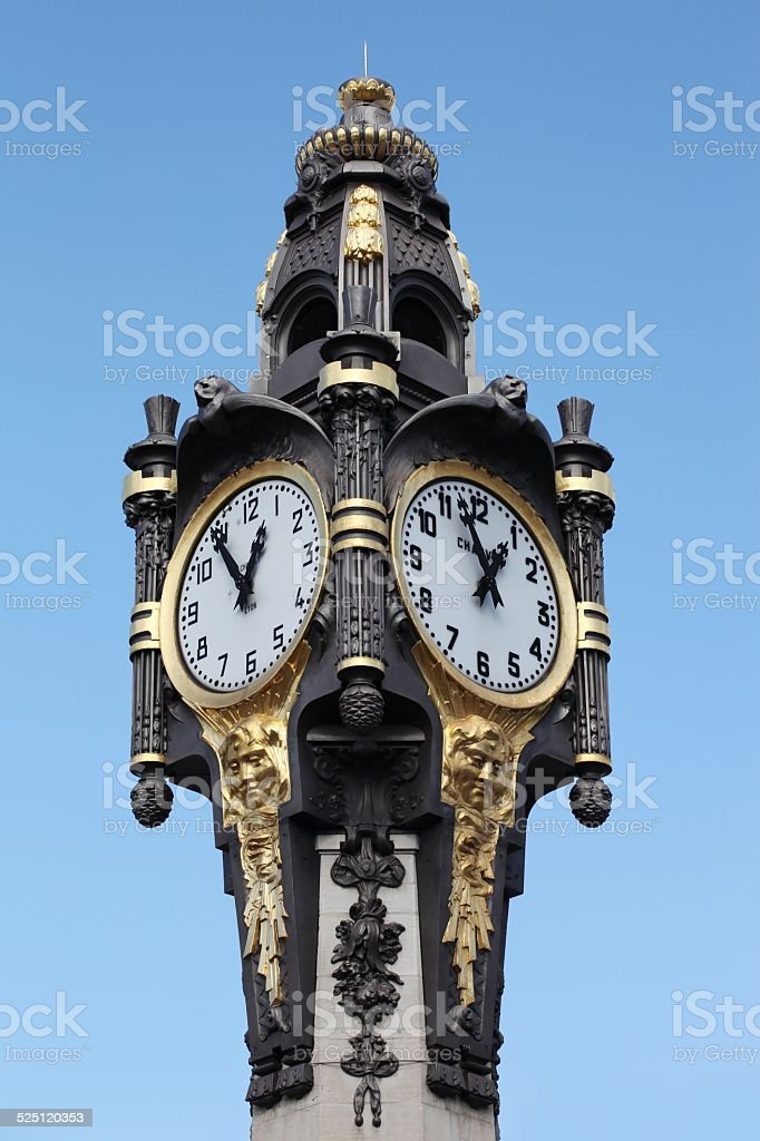 Clock of Tassin la Demi Lune, Lyon, France stock photo