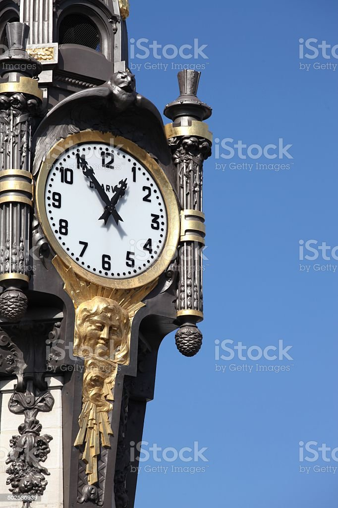 Clock of Tassin la Demi Lune stock photo