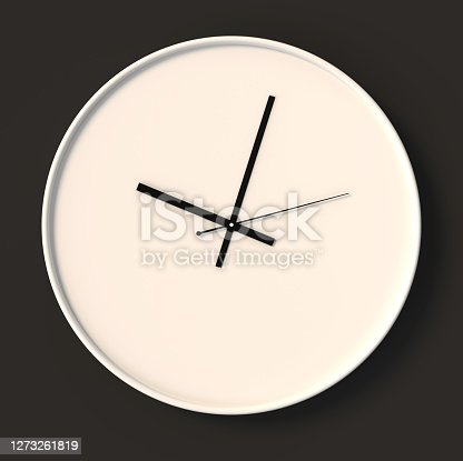 Clock, empty, isolated on black, 3d rendering