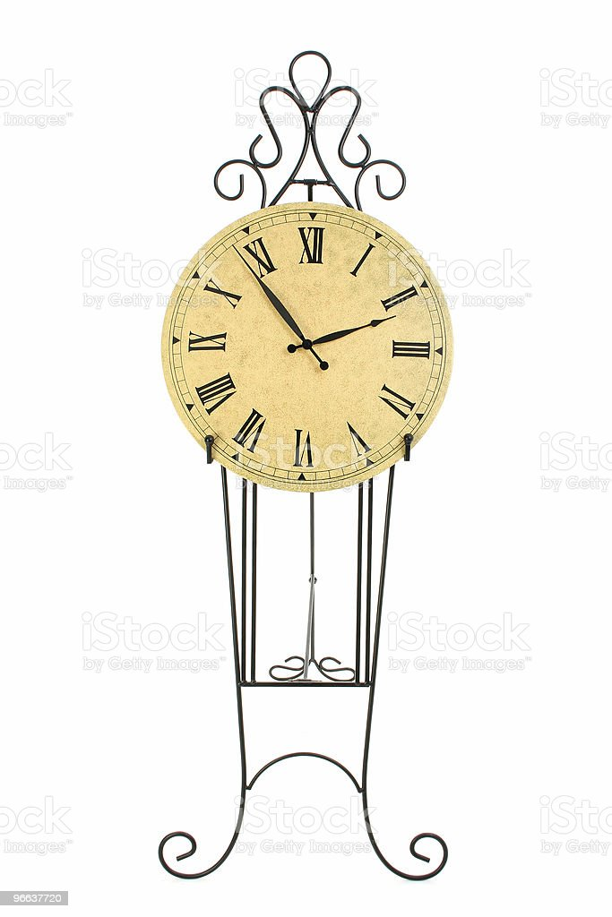Clock on Black Iron Pedestal royalty-free stock photo