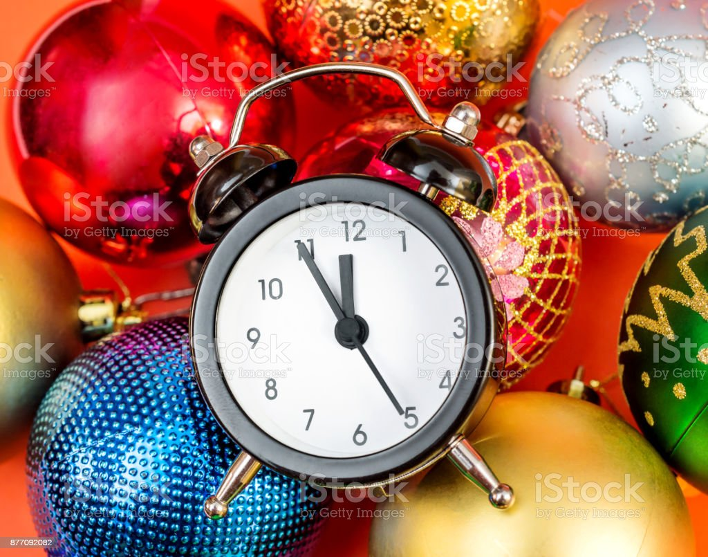 clock on christmas toys new year background royalty free stock photo