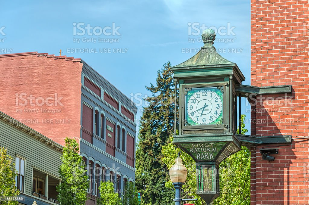 Clock on Historical Bank Building stock photo