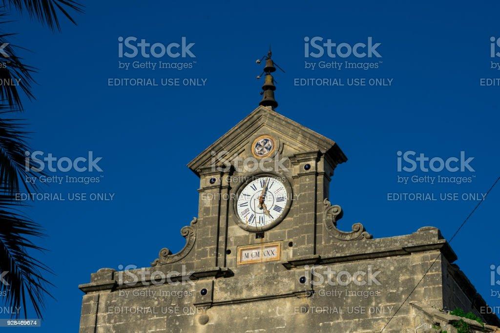 Clock on Santo Domingo Church facade stock photo