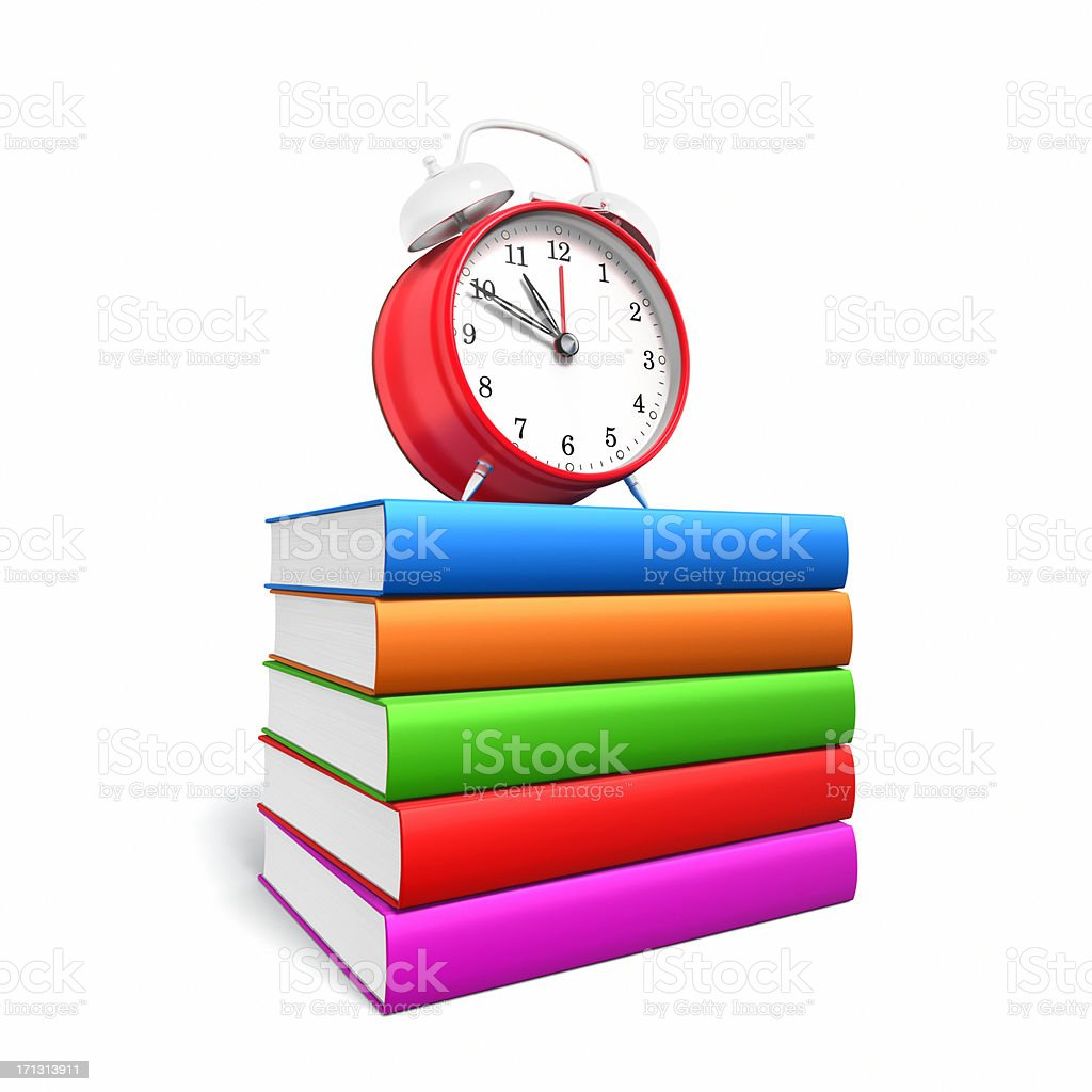 Clock on Stack of Blank Books XL royalty-free stock photo
