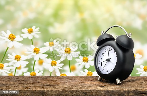 905623256 istock photo Clock on table over flower 503355880