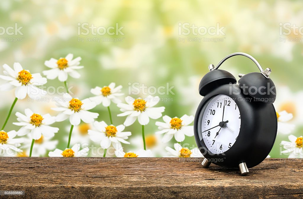 Clock on table over flower stock photo
