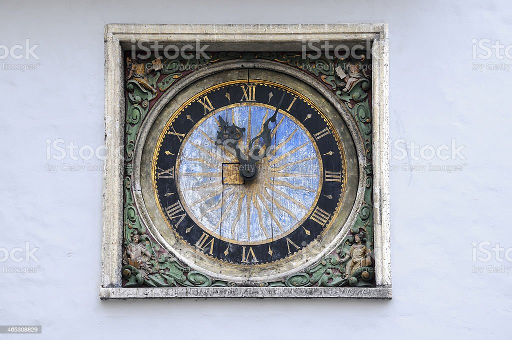 Clock On The Church Of Holy Ghost Stock Photo - Download Image Now