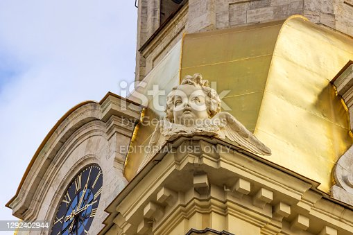 istock Clock on the tower of the cathedral in the Peter and Paul Fortress. 1292402944