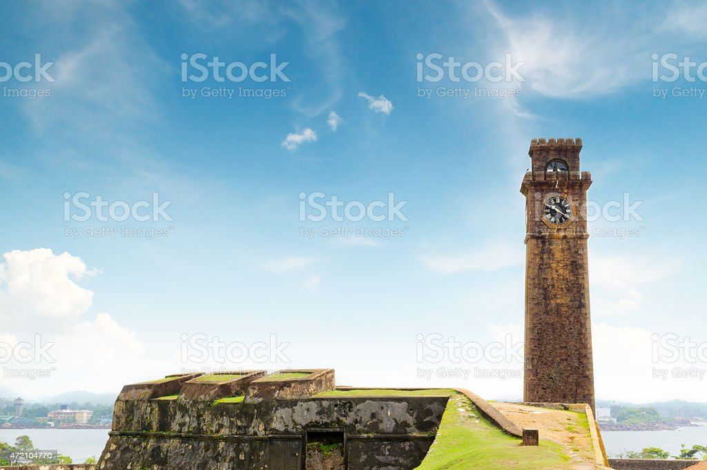clock on the tower stock photo
