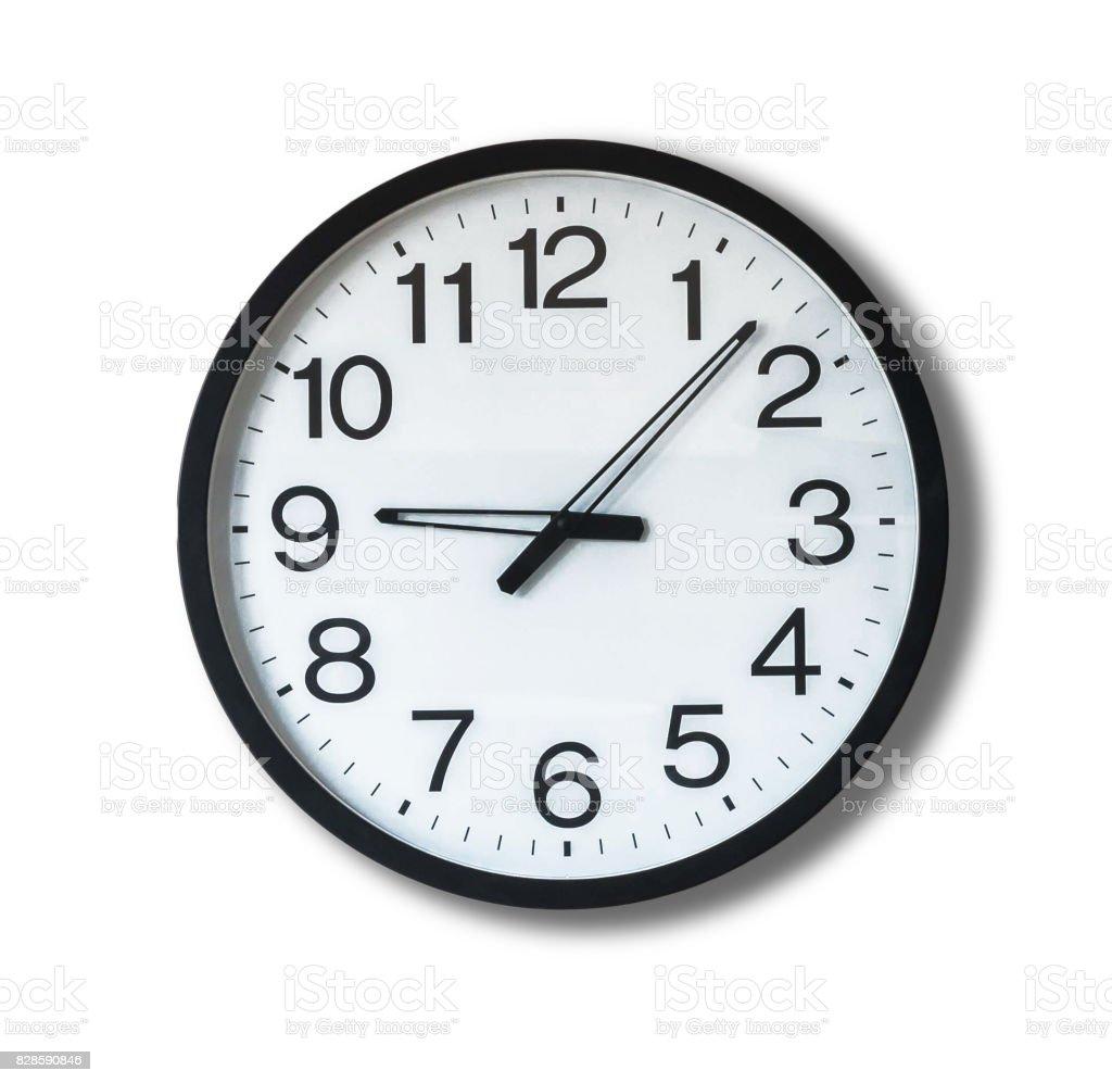 Clock on white background stock photo