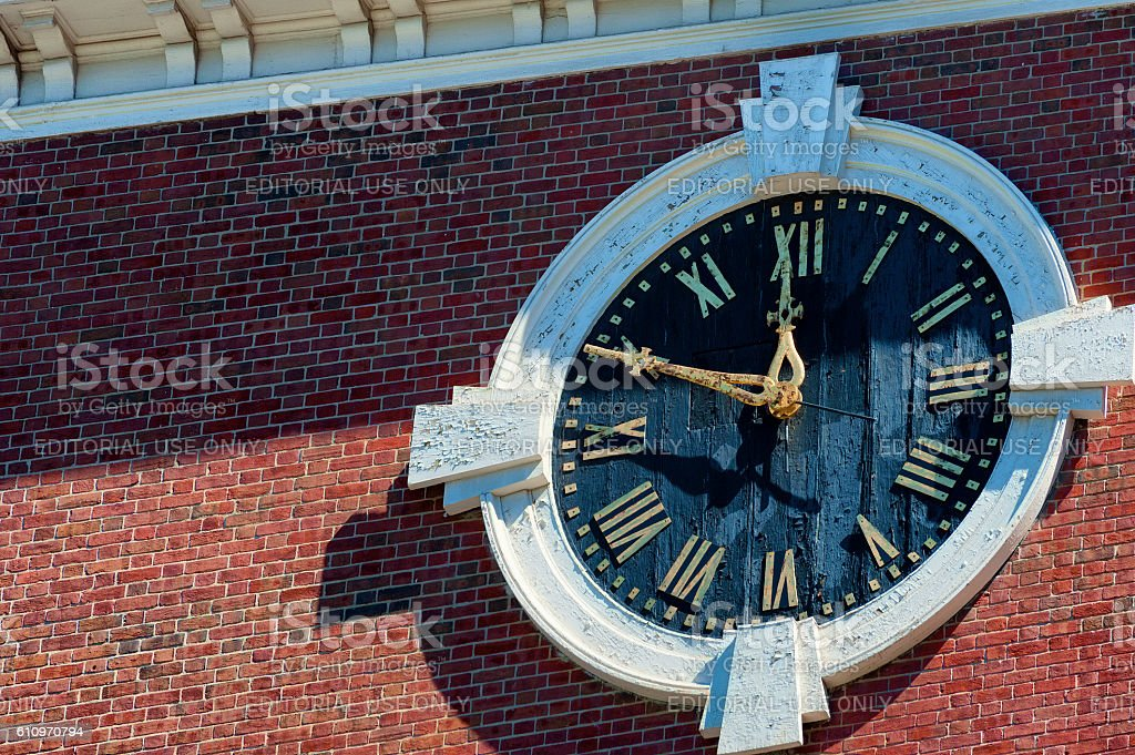 Clock onBoston Massachusetts Park Street Church stock photo