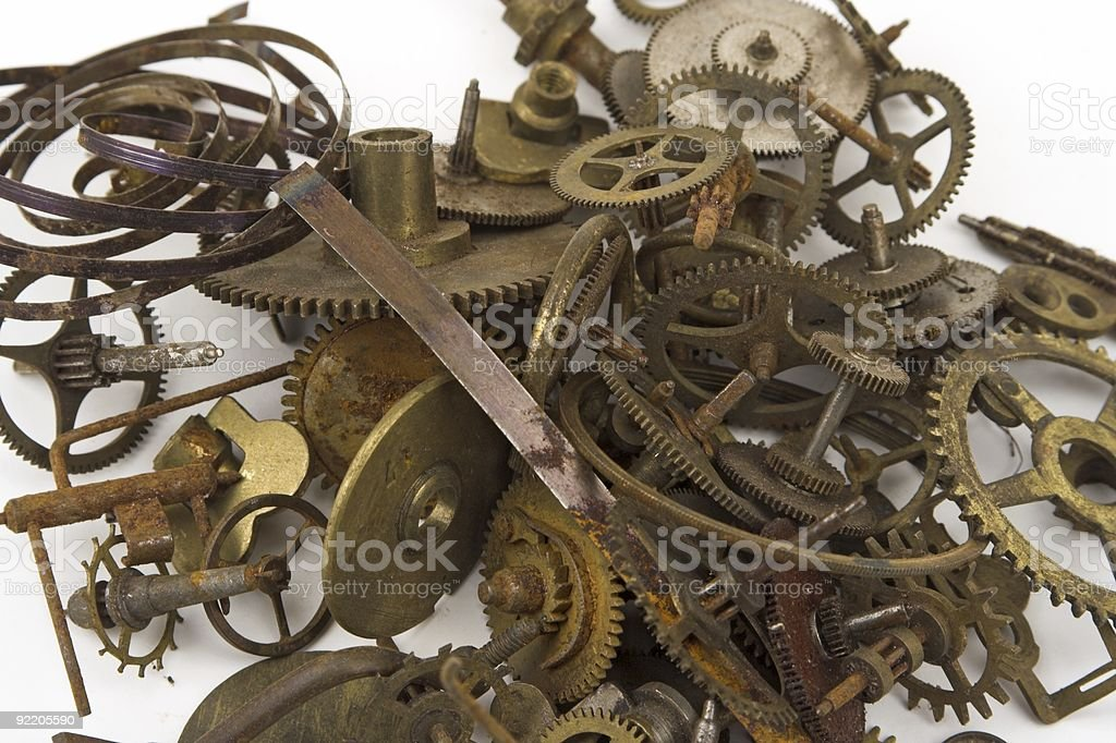 Clock Parts Cogs And Springs royalty-free stock photo
