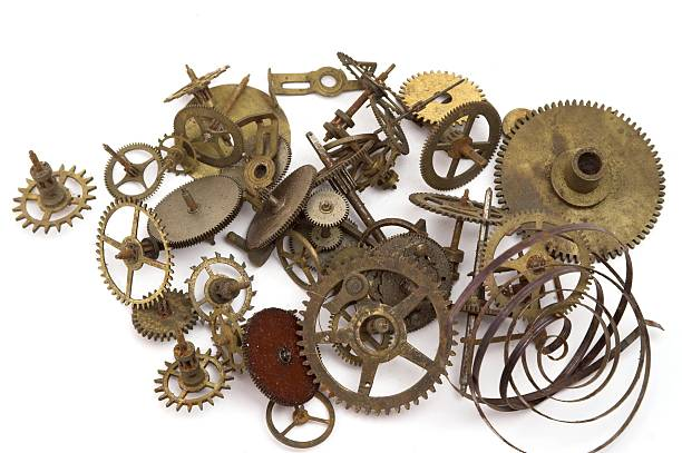 Clock Parts Cogs Wheels And Springs stock photo