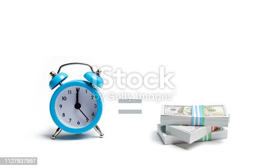 614338352 istock photo A clock, pile of money and the equal sign between them on a white background. The concept of expressing time is money. Planning time and increase efficiency, increase profits. Side job in free time. 1127837957