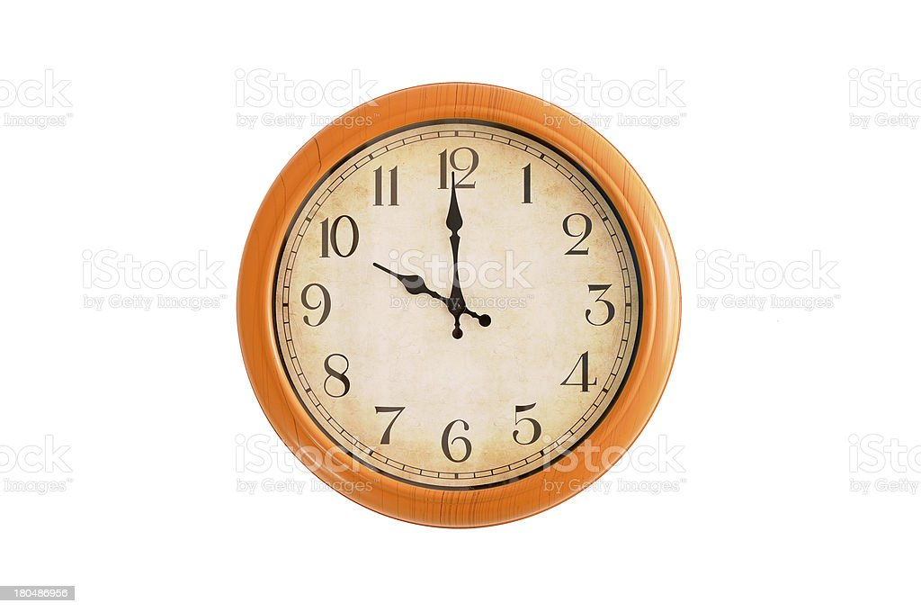 Clock showing 10 o'clock on a white wall royalty-free stock photo