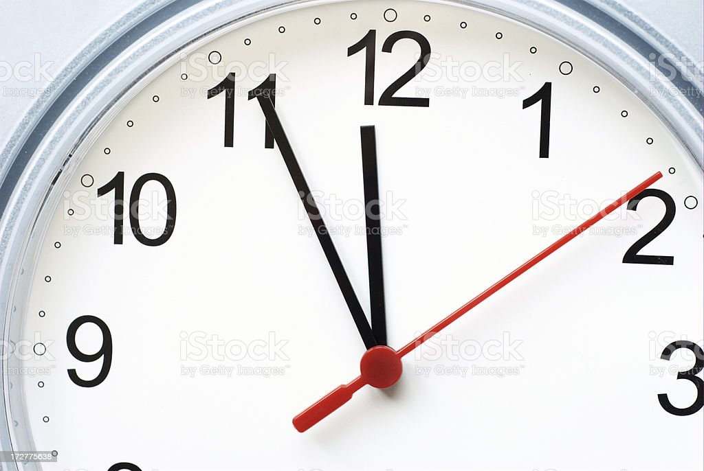 clock showing 5 minutes to 12 royalty-free stock photo
