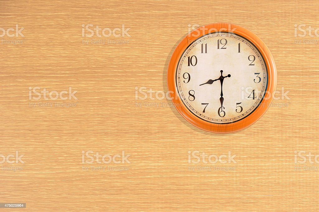 Clock showing 8:30 stock photo