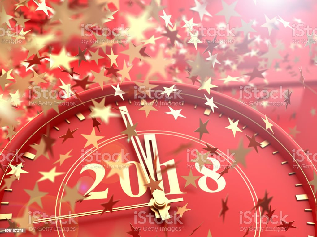 clock showing last Minutes to 2018 and falling stars confetti stock photo