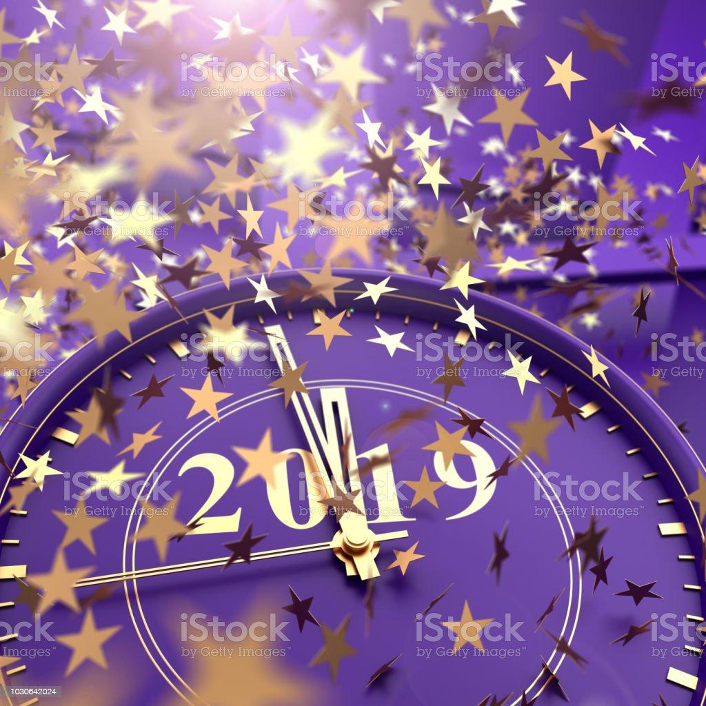 Uhr, Last Minute bis 2019 und Sternschnuppen Konfetti – Foto