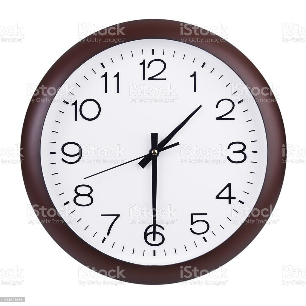 Clock shows half of the second stock photo