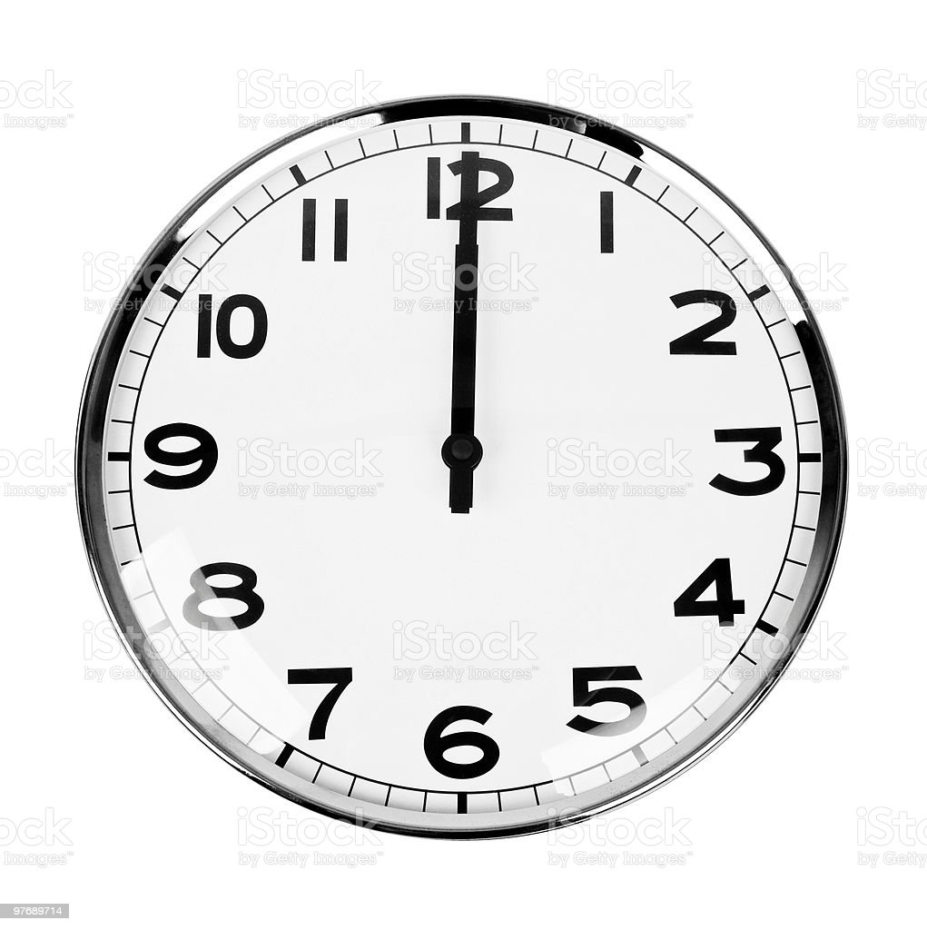 Clock sign 12 O'Clock royalty-free stock photo