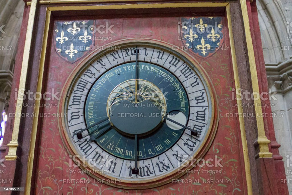 Clock St-Etienne Cathedral Bourges France stock photo