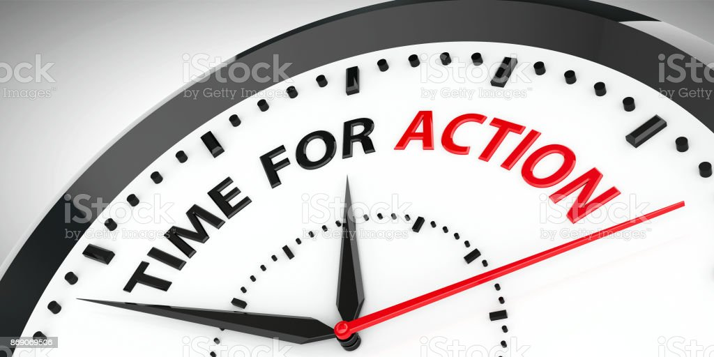 Clock - Time for action stock photo