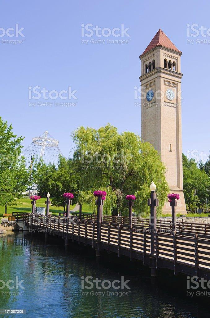 Clock tower and bridge at Riverfront Park in Spokane, WA stock photo