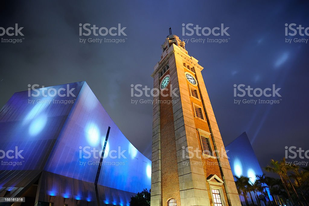 Clock Tower and Hong Kong Cultural Center stock photo