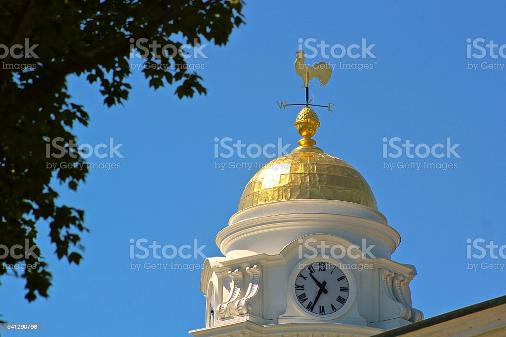 Clock Tower and Weathervane. stock photo