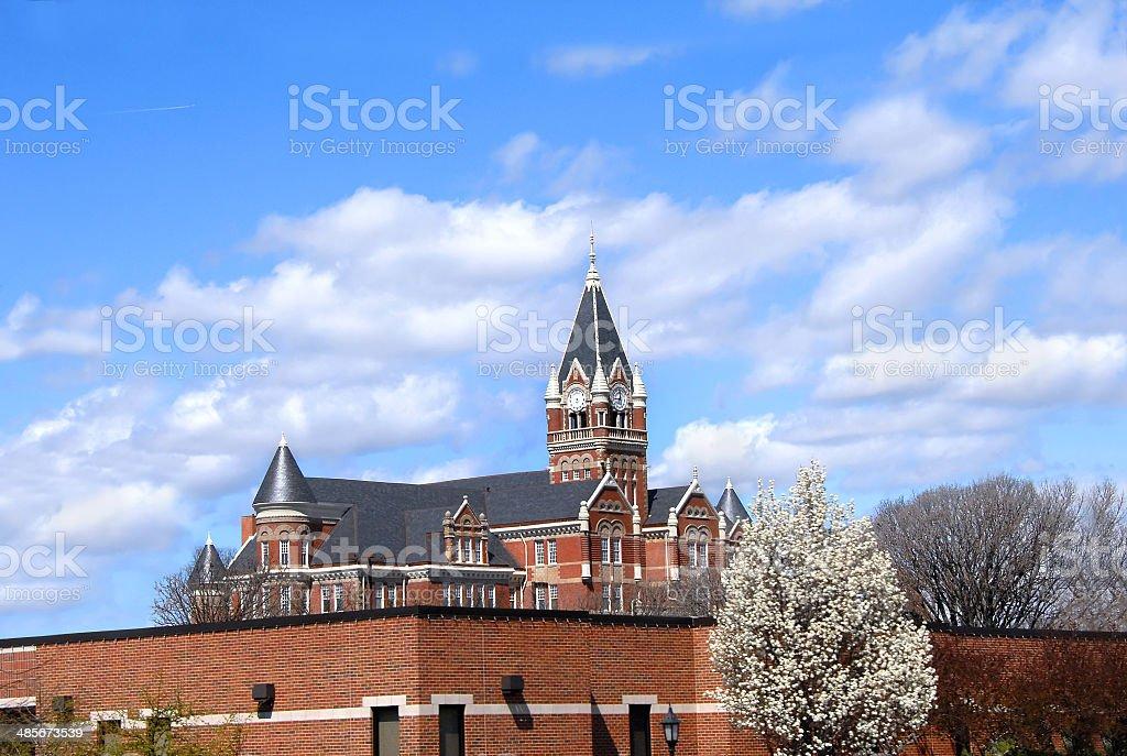 Clock Tower at Friends University stock photo