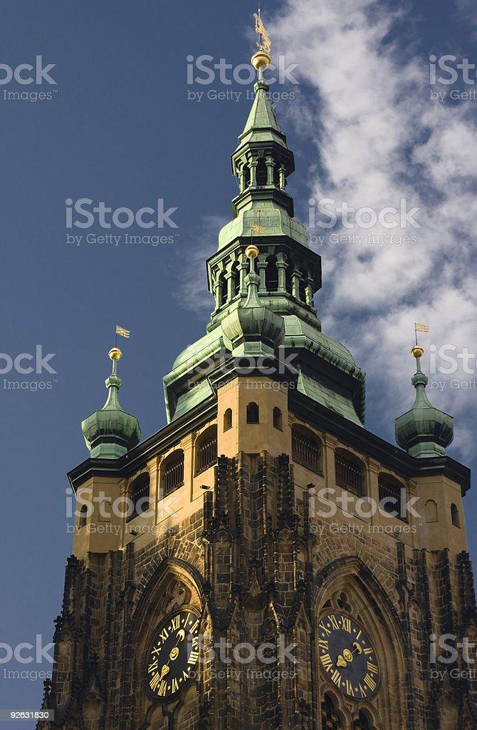 Clock Tower at Hradcany Castle, Prague, Czech royalty-free stock photo