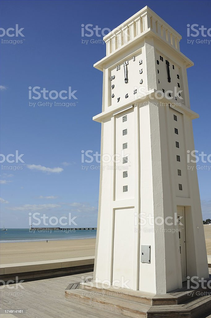 Clock Tower at Les Sables-d'Olonne royalty-free stock photo