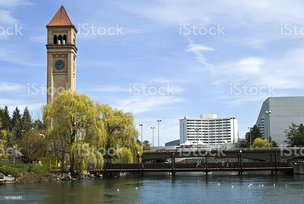 Clock tower at Riverfront Park in Spokane, Washington stock photo