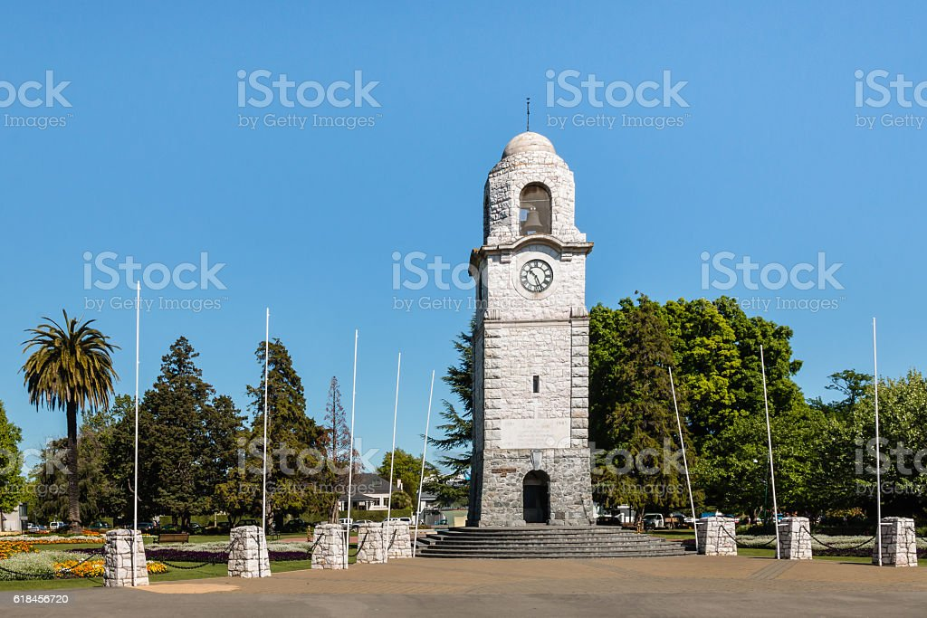 clock tower at Seymour Square in Blenheim stock photo