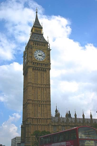 clock tower - big ben - klokkentoren met luidende klokken stockfoto's en -beelden